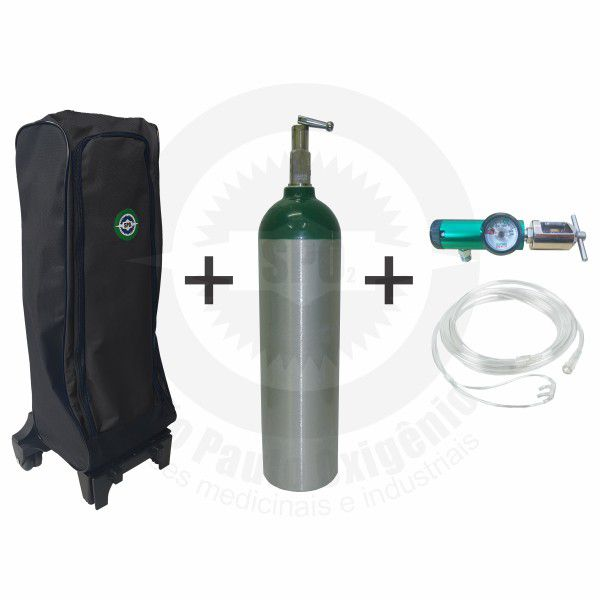 Kit oxigênio portátil c/ 01 cilindro 03 Litros + regulador + mochila c/ carrinho (válvula YOKE)