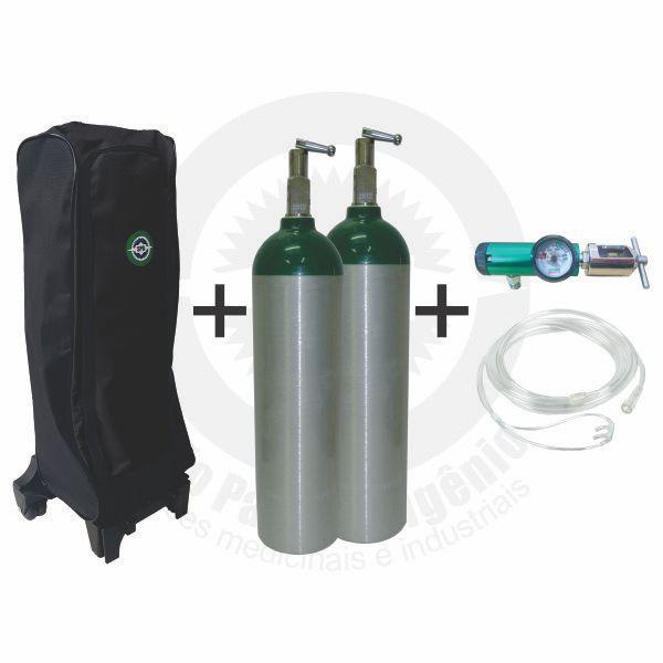 Kit oxigênio portátil c/ 02 cilindros 03 Litros + regulador + mochila c/ carrinho + cateter (válvula YOKE)