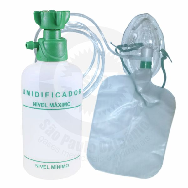 Kit máscara de não reinalação (adulto) + copo umidificador