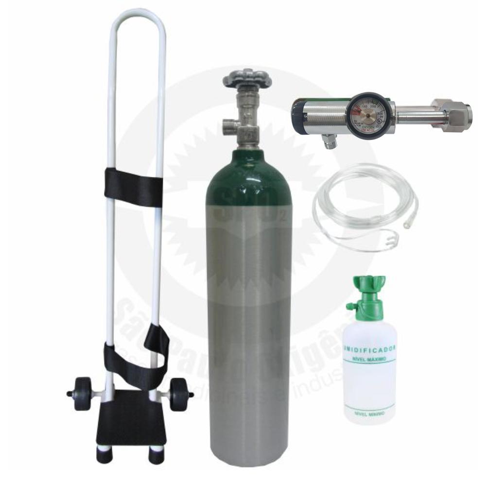 Kit oxigênio portátil c/ 01 cilindro 03 litros + regulador + carrinho + kit cateter de BRINDE (válvula CGA)
