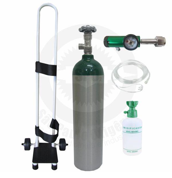 Kit oxigênio portátil c/ 01 cilindro 03 litros + regulador + carrinho + kit cateter (válvula CGA)