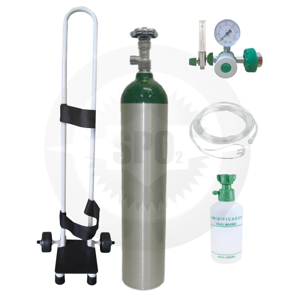 Kit oxigênio portátil c/ 01 cilindro 05 litros + regulador + fluxômetro + carrinho + kit descartável (válvula CGA)