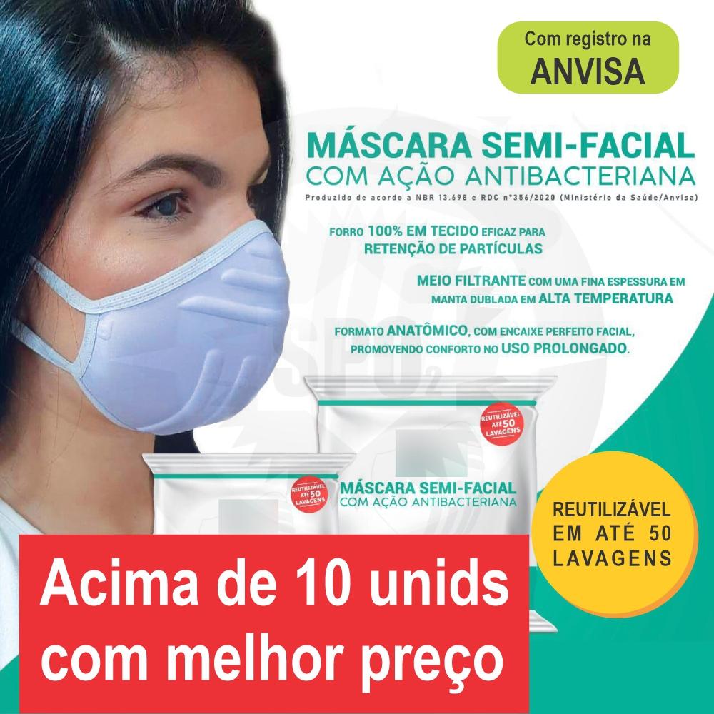 ATACADO - Máscara semi-facial com ação antibacteriana (acima de 10 unidades)