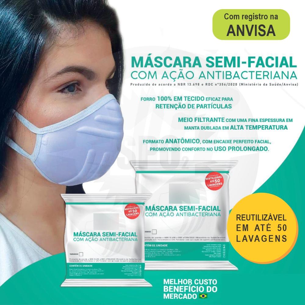 Máscara semi-facial com ação antibacteriana